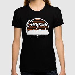 Retro Cheyenne Wyoming Sunset Skyline T-shirt