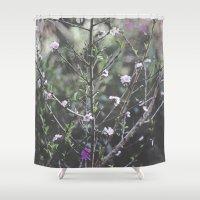 leah flores Shower Curtains featuring (Flores) by Cristina Incháustegui Massieu