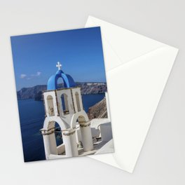 Santorini, Oia Village, Blue and White Church Stationery Cards
