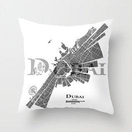 Dubai Map Throw Pillow