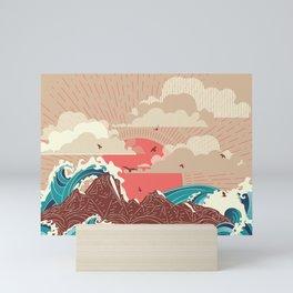 Stylized big waves of ocean or sea at sunset landscape Mini Art Print