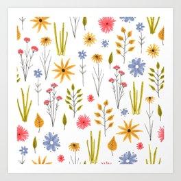 meadow floral print Art Print
