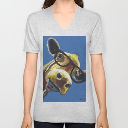 Cute Cow With Glasses, Up close Glasses Cow Unisex V-Neck