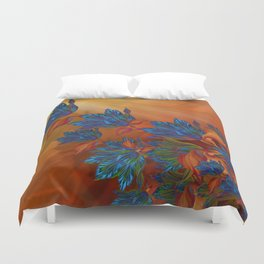 """Blue flowers on orange silk"" (Air Spring at night) Duvet Cover"