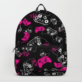 Video Game Pink on Black Backpack