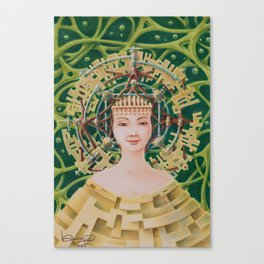 """Portrait with golden headpiece"" Canvas Print"