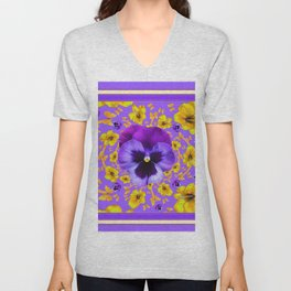 LILAC PANSIES YELLOW BUTTERFLIES & FLOWERS Unisex V-Neck