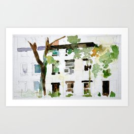 Brownstones and Tree Art Print