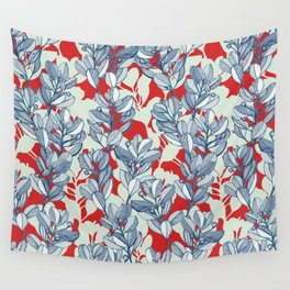 Leaf and Berry Sketch Pattern in Red and Blue Wall Tapestry