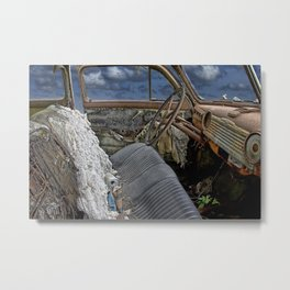 Auto Interior of Abandoned Vehicle Metal Print