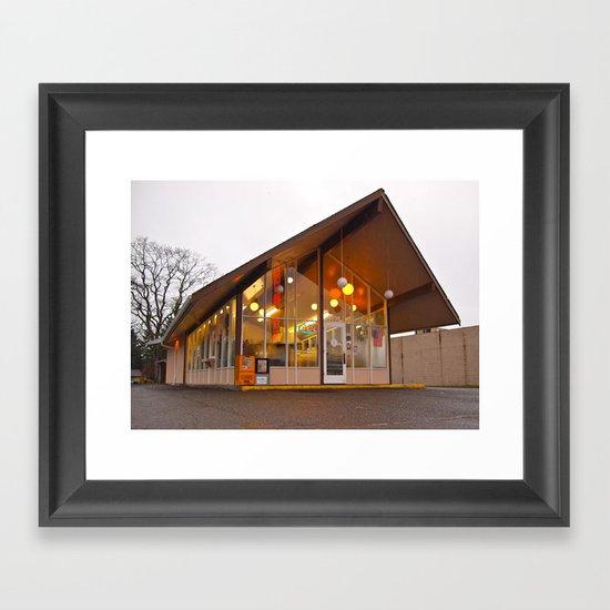 Neighborhood donut shop Framed Art Print