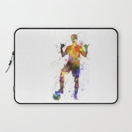 soccer football player young man saluting Laptop Sleeve