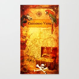 Credendo Vides Old Pirate Map Canvas Print