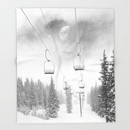 Chairlift Moon Break // Riding the Mountain at Copper Colorado Luna Sky Peeking Foggy Clouds Throw Blanket