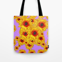 Lilac Purple & Red Center Sunflowers Pattern Tote Bag