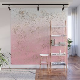 Pink White Ombre Speckled Gold Flakes Wall Mural