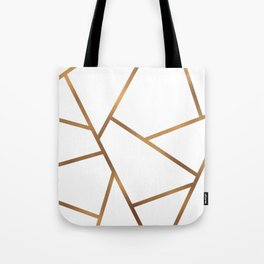 White and Gold Fragments - Geometric Design Tote Bag