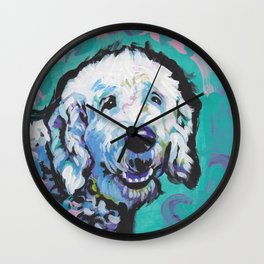 Fun Doodle Dog bright colorful Pop Art by Lea Wall Clock
