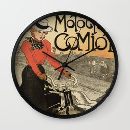 1899 vintage French motorcycle ad by Steinlen Wall Clock