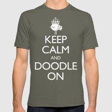 Keep Calm & Doodle On (Green) Mens Fitted Tee Lieutenant MEDIUM