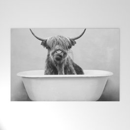 Highland Cow in a Vintage Bathtub (bw) Welcome Mat