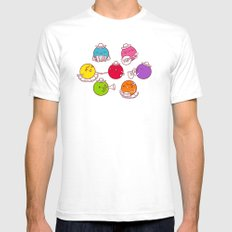 Polka Dots White SMALL Mens Fitted Tee
