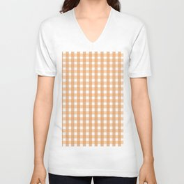 Gingham: Peach Unisex V-Neck