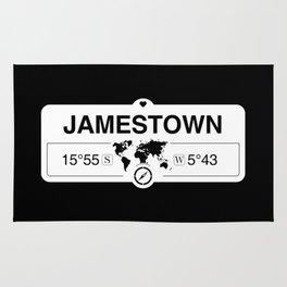 Jamestown Saint Helena GPS Coordinates Map Artwork Rug