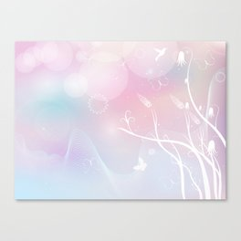 floral background with flowers, leaves, bird and branches of blooming tree. Stylized garden in tints Canvas Print