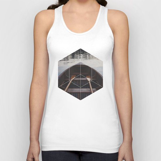 Peace of Mind Boat - Geometric Photography Unisex Tank Top