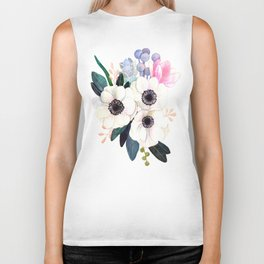 Vintage Watercolor print with Blooming Flowers. poppy, wildflowers, succulent and magnolia Biker Tank