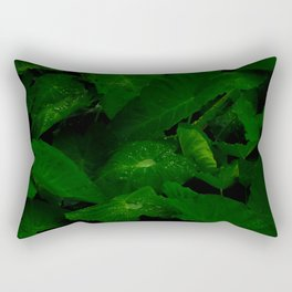 Tropical Anthurium Leaves With Rain Water Droplets In A Dark Background Rectangular Pillow
