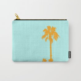 Orange palm trees silhouettes on blue Carry-All Pouch