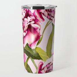 Peonies on a pastel pink background - #Society6 #buyart Travel Mug