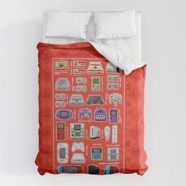 Pixel Art Consoles in Red Comforters
