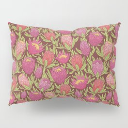 Pink protea flowers with green leaves on brown background Pillow Sham