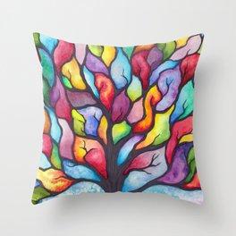 Watercolor Mosaic Tree Throw Pillow