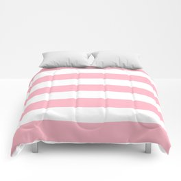 Cherry blossom pink - solid color - white stripes pattern Comforters