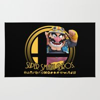 super smash bros Area & Throw Rugs featuring Wario - Super Smash Bros. by Donkey Inferno