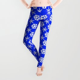 Snowflake Polka Dot Pattern on Blue Leggings