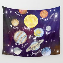 Planets Names Set Illustration Wall Tapestry