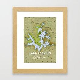 Lake Martin Alabama Travel poster. Framed Art Print