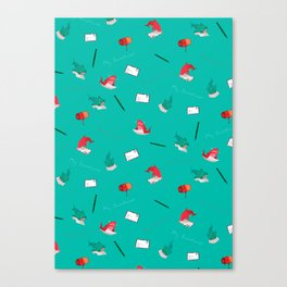 Teal Whale Shark and Shark Canvas Print