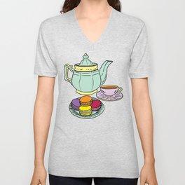 Tea and Macaroons Illustration Unisex V-Neck