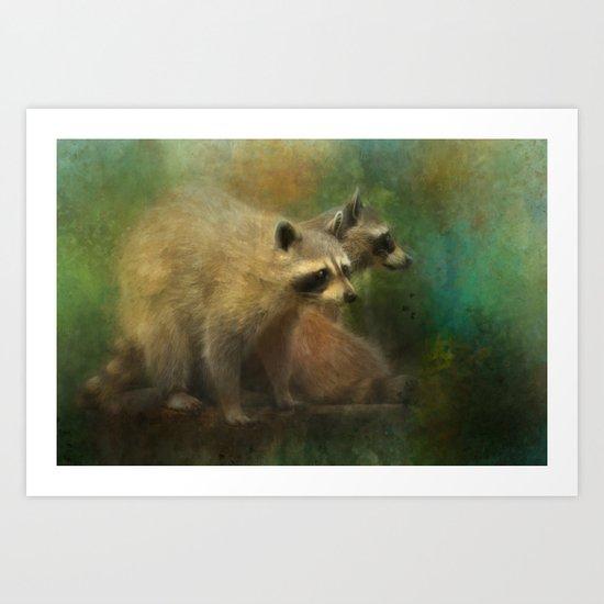 Raccoons Waiting for Nighfall Art Print