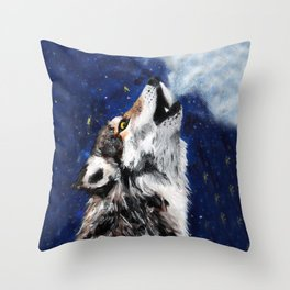 Wolf's breath Throw Pillow