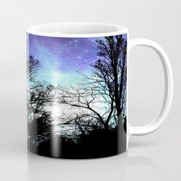 black trees periwinkle blue aqua space Coffee Mug