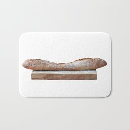 Baguette stuffed with cheese, salad, baked ham Bath Mat