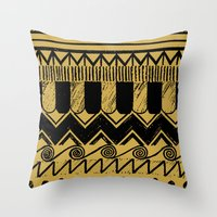 egypt Throw Pillows featuring Aztec Egypt by DeMoose_Art
