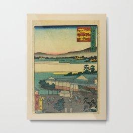 Utagawa Yoshitaki - 100 Views of Naniwa: Teahouses with Scenery, Nikenjaya (1880s) Metal Print